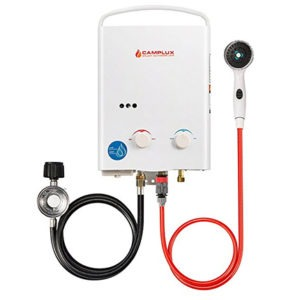 tankless water heater outside