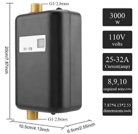 3000w mini tankless water heater